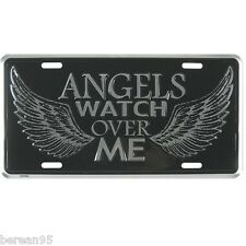 Christian Auto Tag Angels Watch Over Me - Wings - Silver License Plate 87822 NEW