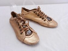 Super Cool Womens 36 6 OSKLEN Gold Leather Oxford Laced Ballet Flat Sneakers