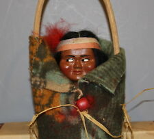 SKOOKUM  (BULLY  GOOD)  INDIAN  DOLL  WITH GREEN BLANKET  IN  BOX