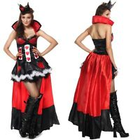 Ladies Sexy Queen of Hearts Alice in Wonderland Fancy Dress Costume Outfit 6-14