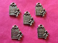 Tibetan Silver Babys Birth Certificate Double Sided Charm - 5 per pack
