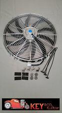 """CHROME 16"""" ELECTRIC COOLING FAN reversable puller pusher 12v 2600 CFM radiator"""