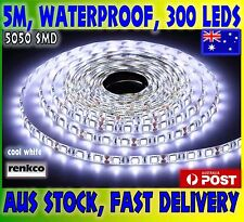 5M 5050 SMD Bright Cool White 300 LED Waterproof 12 Volt Flexible Strip Lights