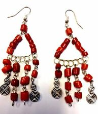 Vintage Moroccan Berber Tribal Wirework & Coral Stones Earrings