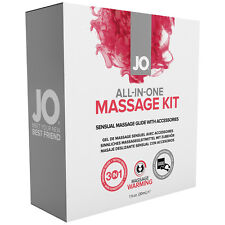 System JO All In One Massage Kit With Warming Lubricant, Candle, And Massager