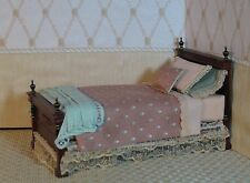 Bed with Handcrafted Peach Bedding - Artisan Crafted Dollhouse Miniature LBP-120