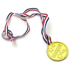 30x Children Plastic Winners Medals Sports Day Awards Toys Party Bag Prize Gold