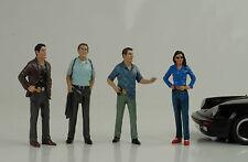 Detective detective Police policía 4 figurines personaje set 1:18 American Diorama