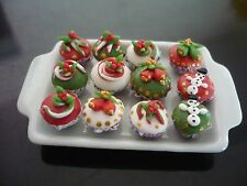 12 Christmas Cupcake on Tray Dollhouse Miniatures Food Supply Deco
