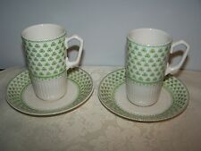 2 W. ADAMS & SONS ENGLAND GREEN SHAMROCK IRONSTONE DEMITASSE EXPRESSO CUP SAUCER