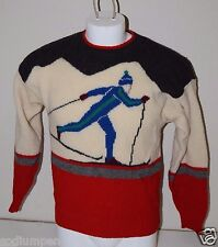 Vintage Thane Medium Wool Sweater Hipster Christmas 1950's Cross Country Skier