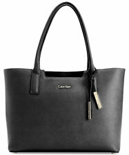 NWT Calvin Klein Womens Genuine Saffiano Leather Tote Shoulder Bag Black NEW