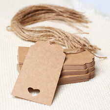 50pcs Kraft Paper Gift Tags Wedding Scallop Label Blank Luggage+Strings Heart