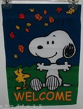 Peanuts Gang Woodstock Snoopy Dog Fall Leaves Sm Garden Flag WELCOME Flags New