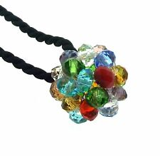 Beautiful Chakra Crystal Cluster Pendant Black Thong