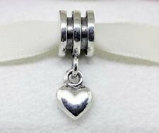 925 STERLING SILVER LOVE HEART DANGLE CHARM PENDANT BEAD