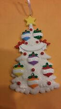 White Tree Family of 6 Personalized Christmas Tree Ornament Holiday