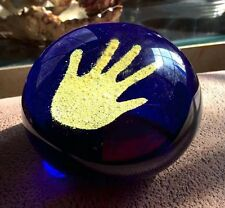 Art Glass Hand Print In The Sand Paperweight Cobalt Blue Beautiful!! NOS