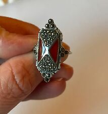 Antique Victorian Art Deco 925 Sterling Silver Red Coral Marcasite Ring Size 6,