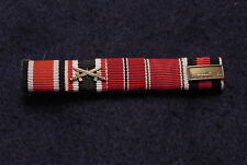 GERMAN WWII RIBBON BAR 5-PLACE  SEW-ON WITH FIELD GRAY WOOL BACKING - RARE