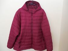 Womens Plus jacket 4XL maroon zip fall winter hooded zip pockets Port Authority