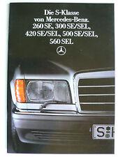 Prospekt Mercedes W 126 260 SE,380 SE/L,420 SE/L,500 SE/L,560 SEL 6.1986, 44 S.