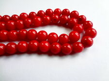 6mm Round Dyed Red Coral Semi Precious Gemstone Beads - Half Strand
