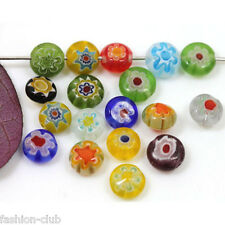 50pcs Mixed Color Ablate Millefiori Glass Beads Lampwork Loose Space Beads 6mm