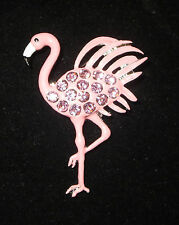Pink Flamingo Pin Crystal Accents Feathers Animals Birds Brooch New Tropical
