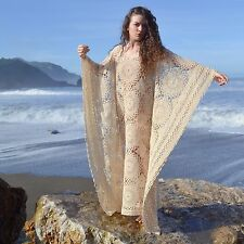 VTG 60s 70s Sheer CROCHET LACE Boho CAFTAN Maxi Beach Modest Wedding Gown DRESS