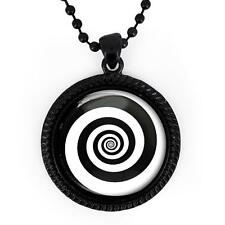 Twilight Zone Black Swirling Hypnotic Vortex Spiral Black Glass Pendant Necklace