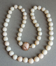 """Vintage 14k Yellow Gold Angel Skin Coral Bead Necklace, 20"""", 11.5MM"""