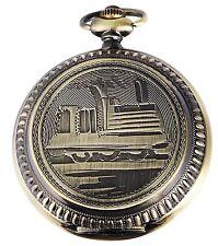 Taschenuhr Weiß Bronze Eisenbahn Zug Lok Metall Analog Quarz D-480352000058575