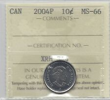 **2004P**, ICCS  Graded Canadian,  10  Cent, **MS-66**
