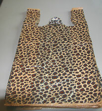"200 LEOPARD print Plastic T-Shirt Bags w/Handles 8"" x 5"" x 16"" gift party retail"