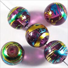 Lot de 20 perles en verre Décorées 10mm Améthyste