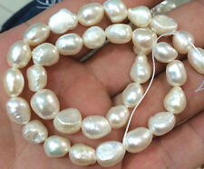 """New 8-9mm Natural Baroque White Freshwater Real Pearl Loose Beads 14"""" Strand"""