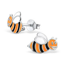 Childrens Girls 925 Sterling Silver Cute Bumble Bee Stud Earrings Pair Boxed