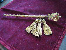 """5 3/8"""" Heraldic Coat of Arms Scepter Pin w/ Golden Tassels, 3 CORAL CABOCHONS"""