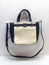 Kate Spade Houston Street Leo Black Leather / Straw Pale Crossbody Handle Bag