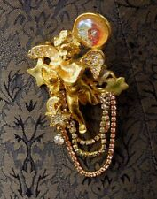 Kirks Folly Seaview Angels Retired Pin Moon & Star Charms Heart Cherub Brooch