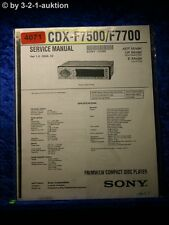 Sony Service Manual CDX F7500 /F7700 CD Player (#4071)