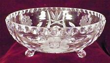 Flower Etched Crystal Bowl Star Centers 3 Scroll Feet Vintage PATTERN MAKER HELP