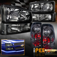 [BLACK] 2003-2006 Chevy Silverado 1500 2500 Headlights+Signal+[SMOKE] Tail Light