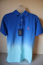 Ralph Lauren Polo Men's Classic Mesh Shirt Blue Ombre Orange Pony Medium- NEW