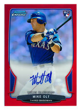 2013 BOWMAN CHROME MIKE OLT RC ROOKIE RED REFRACTOR AUTO AUTOGRAPH RARE #3/5