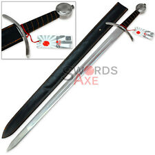 European One-Handed Spiral Bastard Sword Stainless Steel Replica w Fuller Viking