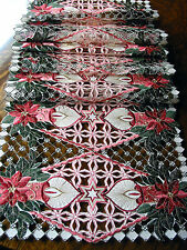 "Christmas Embroidered Table Runner Cut Work Pink Poinsettia 16"" x 70""  Ecru NEW"