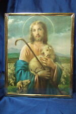 """Catholic Picture JESUS the GOOD SHEPHERD by Simeone plaque with gold frame 8x10"""""""