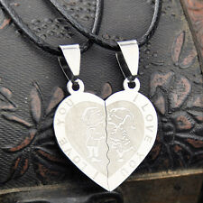 1 pairs heart-shaped Puzzle couple stainless steel pendant necklace ST189